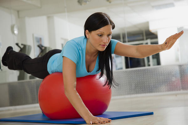 Girl on exercise ball